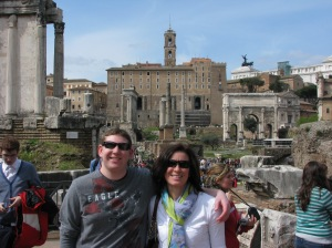 Laura and Zach at Roman Forum with Arch of Titus in background.