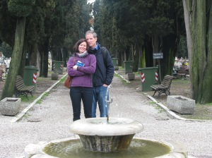 Laura and Tom in cemetary